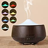 FLYMEI 250ml Wood Grain Aromatherapy Essential Oil Diffuser with 7 Color Changing LED Lamps, Ultrasonic Cool Mist Humidifier Air Freshener, With Timer Setting, Auto Shut-Off (Dark)