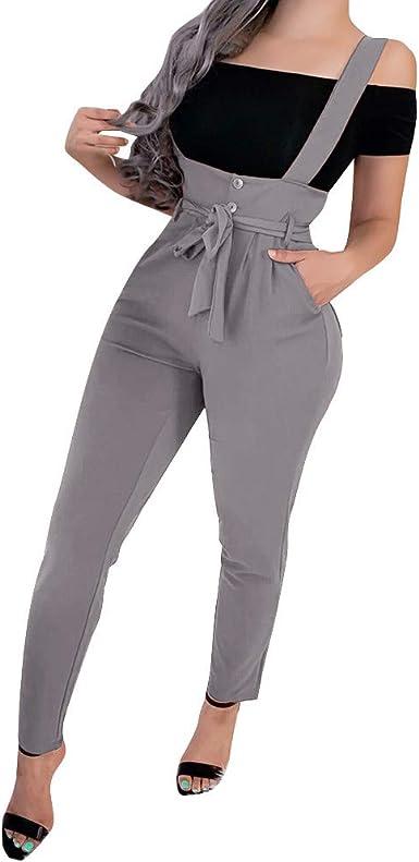 Pantalones Mujer Invierno Correa De Espagueti Para Mujer Piernas Anchas Medias Mono Pantalones Clubwear Mameluco Amazon Es Ropa Y Accesorios