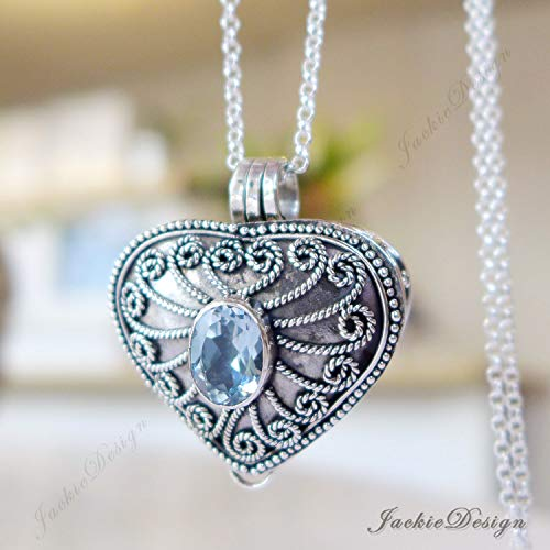 - Heart Locket Blue Topaz Container Pendant Sterling Silver 20
