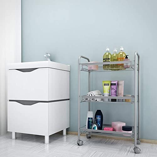 US Stock 3 4 5-Tier Mesh Wire Rolling Cart,Flexible Moving Shelving Trolley,Utility Cart Multifunction Kitchen Storage Storage Cart for Living Room Bedroom Bathroom 3 Tier, Silver