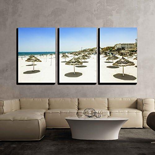 wall26 キャンバスウォールアート 3点 ビーチ 椅子 傘 アイディリック トロピカル 砂 ビーチ モダン ホームアート 枠張り済み フレーム入り すぐに掛けられます 24インチ x 36インチ x 3インチ パネル