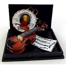 Melody Jane Dollhouse Miniature Music Room Accessory Reutter Porcelain Violin Plate Set
