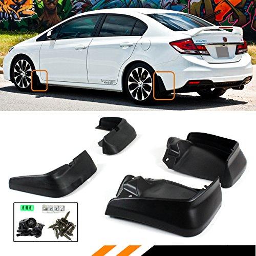 Cuztom Tuning Fits for 2012-2015 9TH Gen Honda Civic 4 Door Sedan Mud Flaps Splash Guards Set Front + Rear - Honda Civic Mud