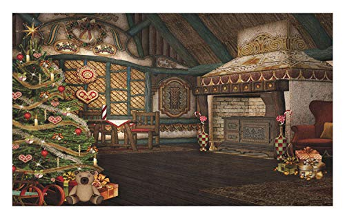 Ambesonne Christmas Doormat, Inner View of a Xmas House Mistletoe Yuletide Winter Season Celebration Image, Decorative Polyester Floor Mat with Non-Skid Backing, 30 W X 18 L Inches, Taupe ()