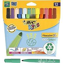 BiC Kids Ecolutions Visa Color XL Felt Pens - Assorted (Pack of 12) - Bic 12 Rotuladores Visacolor XL