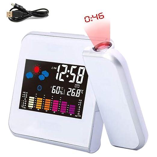 ZAHNG Reloj Despertador de proyección Digital Pantalla LED ...