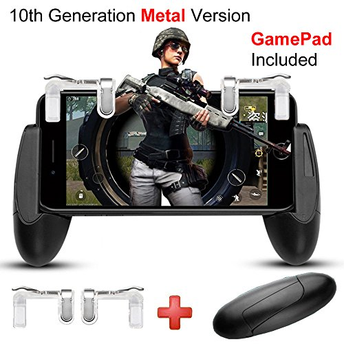 Cheap Game Controller, IUGGAN Game Pad Sensitive L1R1 Shoot and Aim Keys Joysticks Shooter Controller for PUBG/Knives Out/Rules of Survial Gaming Triggers for IOS and Android (10th Gen + Gamepad)