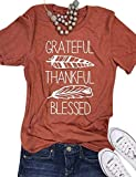 SCX Women Letter Print T-Shirt Grateful Thankful Blessed Letter Leaf Short Sleeve Top,Orange,Large