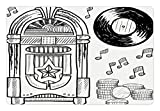 Ambesonne Jukebox Pet Mat for Food and Water, Doodle Style Retro Music Box Notes Coins Long Play Vintage Sketchy Artwork, Rectangle Non-Slip Rubber Mat for Dogs and Cats, Black and White