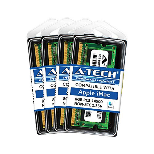 A-Tech for Apple 32GB (4X 8GB) DDR3L 1867MHz / 1866MHZ PC3L-14900 2Rx8 1.35v CL13 204-pin SODIMM iMac Late 2015 Retina 5K 27-inch A1419 Memory RAM Upgrade