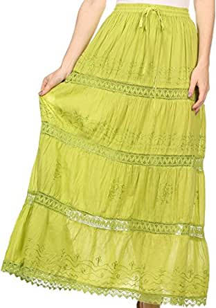 Sakkas AA254 - Solid Embroidered Gypsy Bohemian Mid Length Cotton Skirt - Lime/One Size