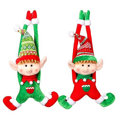 PartyTalk 2pcs Plush Christmas Elves Toys 16 Adorable Boy and Girl Elf Doll Hanging Christmas Ornaments for Holiday Door Tree Decor Xmas Gifts