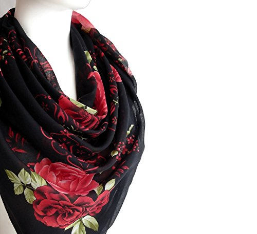 Red Black Scarf Spring Women's Fashion Accessories Light Cotton Large Square Floral Print Scarf Shawl Wrap 38 x 38 inches
