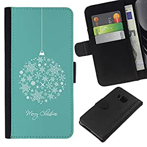 KLONGSHOP // Tirón de la caja Cartera de cuero con ranuras para tarjetas - Feliz Navidad Vacaciones de Invierno - HTC One M7 //
