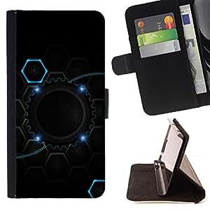 BullDog Case - FOR/Samsung Galaxy S6 / - / cool black blue gear hive /- Monedero de cuero de la PU Llevar cubierta de la caja con el ID Credit Card Slots Flip funda de cuer