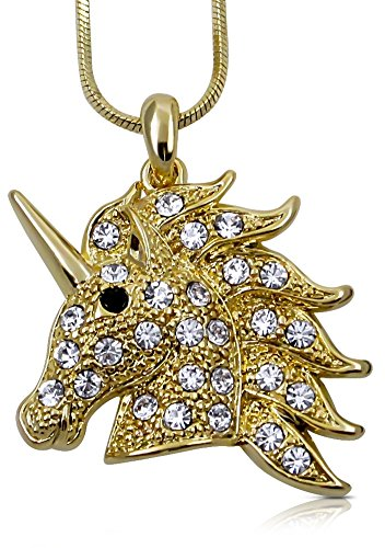 Unicorn Pendant Necklace Jewelry Gift for Girls, Teens, Women, Granddaughters, Sisters, Daughters, Birthday Present (Gold)