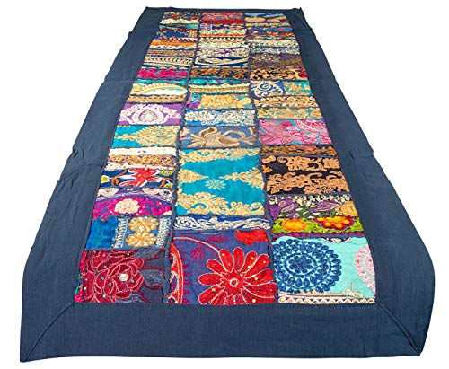 - Tribe Azure 100% Cotton Table Runner Hand Embroidered Boho Bohemian Colorful Patchwork Indian Decoration Decor Tapestry (Royal Blue Floral)