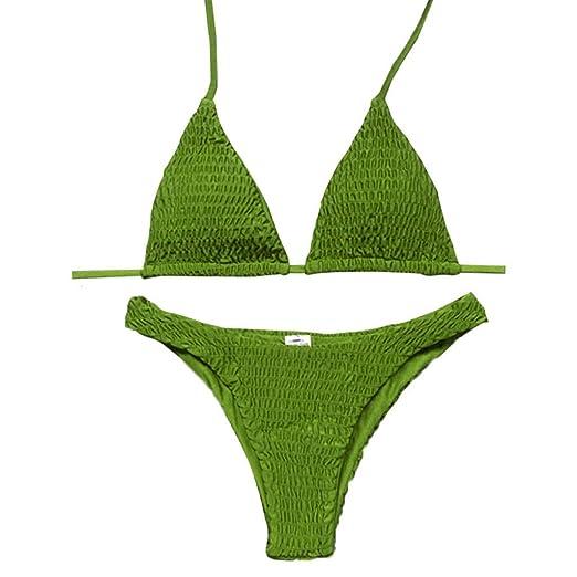 8dd168f58a06 Amazon.com: iLXHD Sexy Pleated Bikini Solid Swimwear Women Push Up Swimsuit  Off Shoulder Biquini Black: Clothing