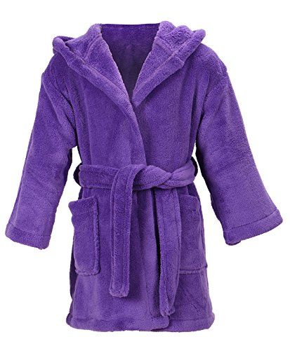 EPYA Children's Solid Color Outdoor Pool Coverup and Beach Coverup,Purple, 4-6 - Hood Swimming