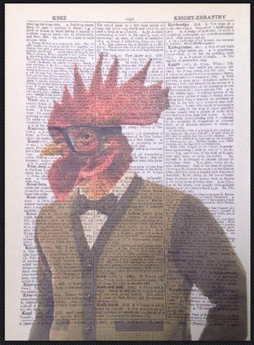 Pollo uomo vintage Dictionary page Wall Art Print Picture gallo galletto uccello animali buffi homemade
