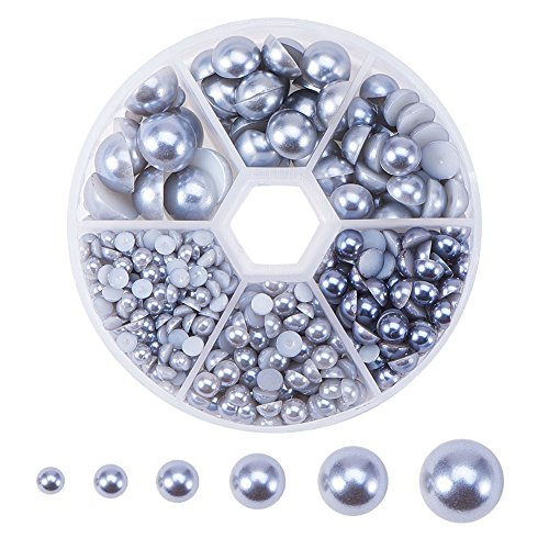 10 Mm Round Acrylic - PH PandaHall 1Box 4-12mm About 690pcs Half Round Domed Imitation Pearl ABS Acrylic Beads Flat Back Pearl Cabochons for Craft DIY Gift Making Gray