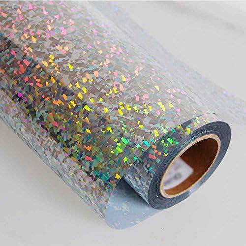 HOHO - Lámina de vinilo holográfica de colores plateados con cristal de impresión termoadhesivo, patrón de transferencia de calor, 50,8 x 30,5 cm: Amazon.es: Hogar