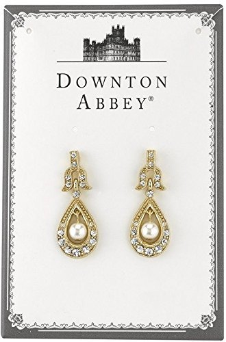 Downton Abbey Boxed Gold-Tone Crystal and Simulated Pearl Drop Earrings 17896 by Downton Abbey