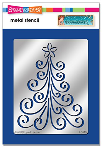 Stampendous DWLG718 Dreamweaver Stencil, Curly Christmas Tree