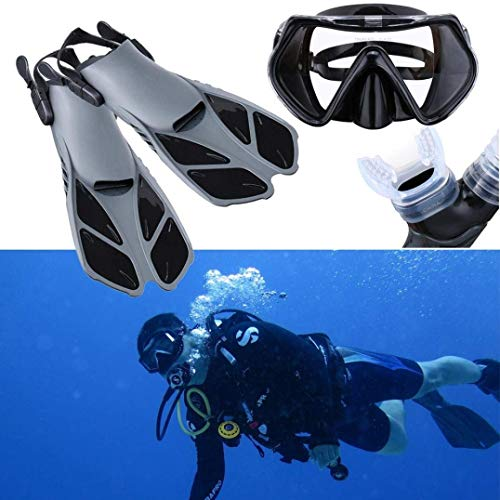 Yeefant 1 Set Durability Snorkel Scuba Diving Fins Mask Adjustable Buckles Goggles Glasses Diving Swimming Fins Flippers Set,Glass Size 6.6 x 3.5 x 1.9 Inch,Snorkel Size 18.8 x 1.7 Inch