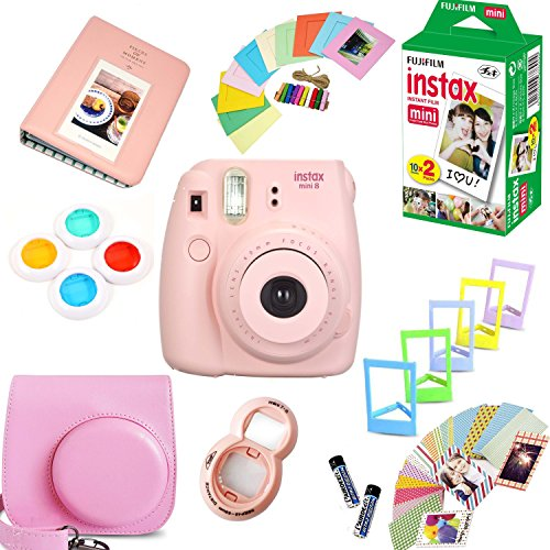 Fujifilm Instax Mini 8 Film Camera (Pink) + Instax Mini Film (20 Shots) + Protective Camera Case + Selfie Lens + Filters + Frames Photix Decorative Design Kit