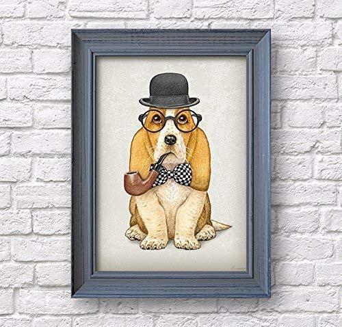 Basset Hound Sherlock Holmes print, dog art poster, artwork wall decor ()