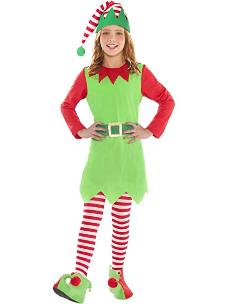 649424e8d Amscan Elf Costume for Girls, Christmas Costume, Medium, with Included  Accessories