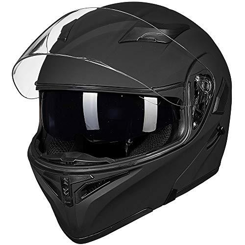 ILM Motorcycle Dual Visor Flip up Modular Full Face Helmet DOT LED Light (M, MATTE BLACK - LED)