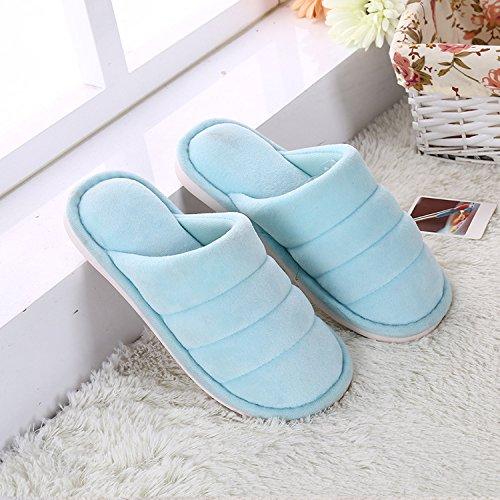 Y-Hui Autunno e Inverno Ultra color legno morbido piastrella per pavimenti Home caldo cotone pantofole spessa slip di cotone colore trascinare in inverno,29 (per 4344 piedi),blu