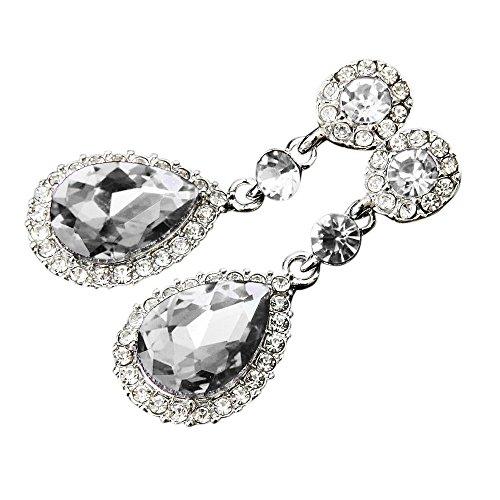 Wedding Jewelry Rhinestone Ears Ring Style Wedding Dangle Earrings For Women Hanican, White ()