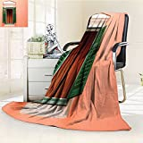 Silky Soft Plush Warm Duplex Printed Blanket Image of Window and Shutters Old House Rurals Home Deco Orange Green White Anti-Static,2 Ply Thick,Hypoallergenic/W47 x H31.5