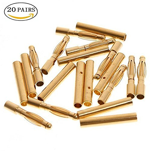 - ShareGoo 2.0 mm Plated Male and Female Gold Bullet Connector Plugs for RC Battery ESC Motor (Pack of 20Pairs)