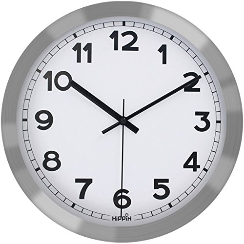 Hippih 12 Inch Silent Non-ticking Metal Wall Clock Glass Cover , B