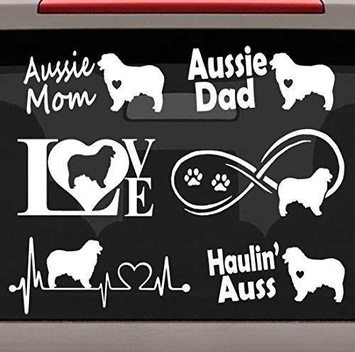 - CELYCASY 6-Count Australian Shepherd Aussie Mom Dad Heartbeat Infinity Love Dog Decal Sticker Set E1081