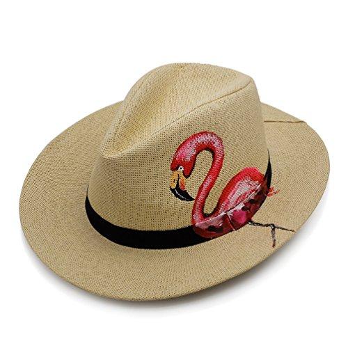 Armycrew Hot Pink Novelty Flamingo Print Summer Straw Fedora Hat