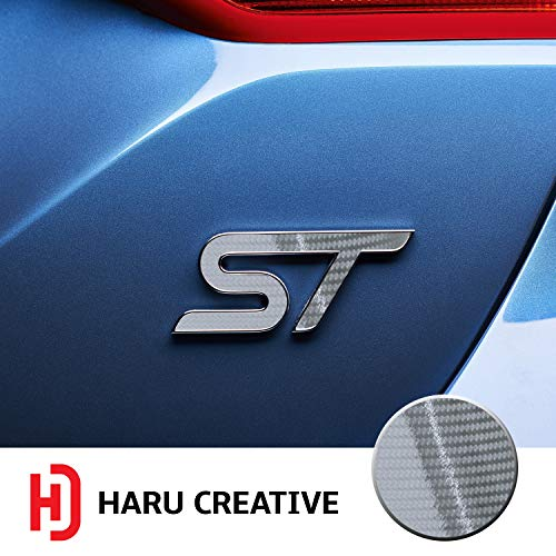 (Haru Creative - Front Grille Hood Rear Trunk Emblem Letter Insert Overlay Vinyl Decal Compatible with and Ford Focus ST 2013-2019 - 5D Gloss Carbon Fiber Silver )
