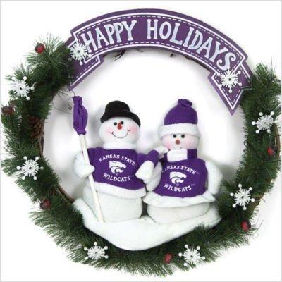 (NCAA Snowman Christmas Wreath NCAA Team: Kansas State )