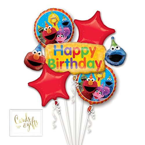 Andaz Press Balloon Bouquet Party Kit with Gold Cards & Gifts Sign, Sesame Street 1st Birthday Foil Mylar Balloon Decorations, 1-Set