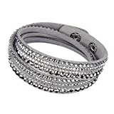 Beautiful Bead Women New Fashion Genuine Leather Wrap Multilayer Rhinestones Hot Fix Bracelet-Grey