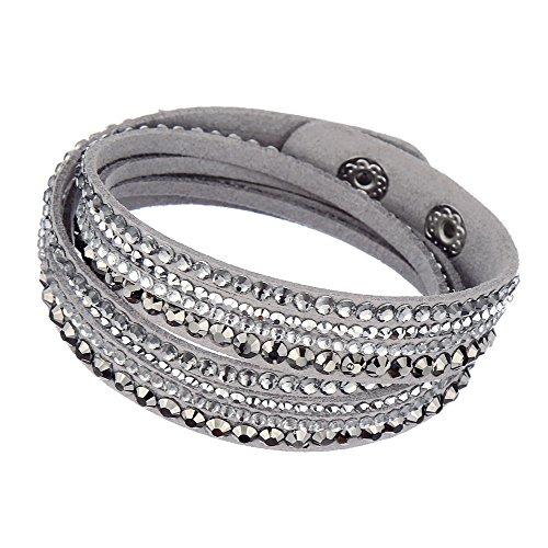 Beautiful Bead Multilayer Rhinestones Bracelet Grey