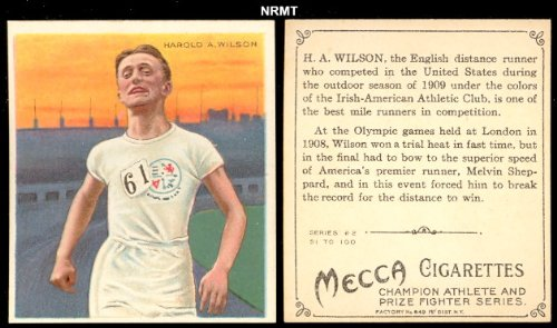 1910 T218 Champion Athletes (Miscellaneous) Card# 62 harold a. wilson Good Condition