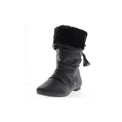 ed4062f4dedb ChaussMoi Glänzendem Leder Look-gefüllte Schwarze Flache Ankle-Boots - 41