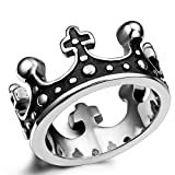 Flongo Men's Womens Vintage Stainless Steel Ring Black Silver Queen King Crown Gothic Band, Size 6, Royal King Crown Ring Cross Band, Knight Fleur De Lis Cross Ring