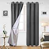 dark grey curtains bedroom Deconovo Blackout Window Curtains Silver Curtains with Silver Backing for Kids Bedroom 42W x 95L Dark Grey 2 Panels