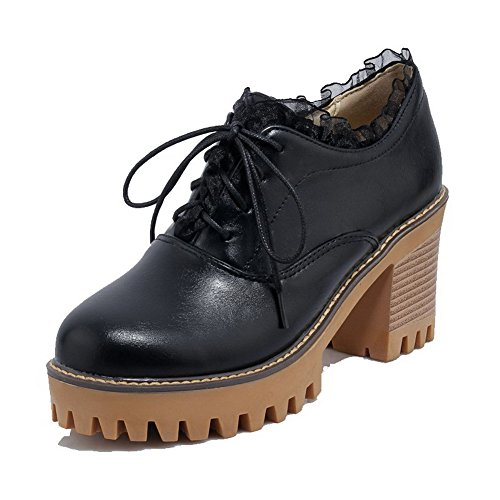 VogueZone009 Women's PU Lace-up High-Heels Solid Pumps-Shoes Black